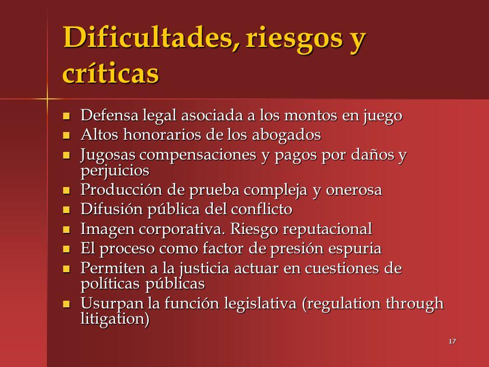 Dificultades, riesgos y críticas