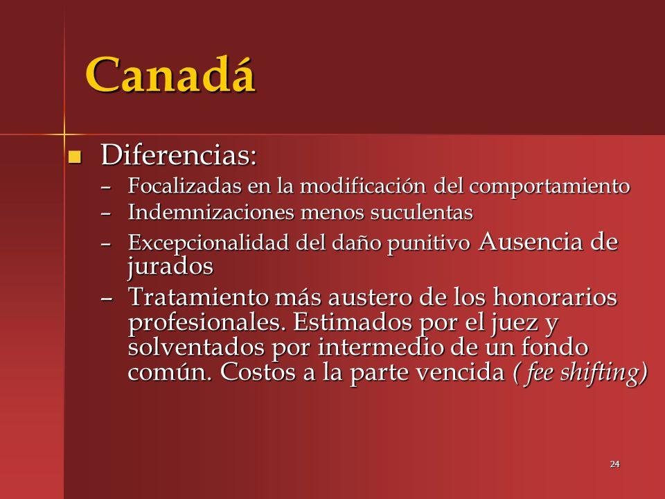 Canadá Diferencias: Focalizadas en la modificación del comportamiento. Indemnizaciones menos suculentas.