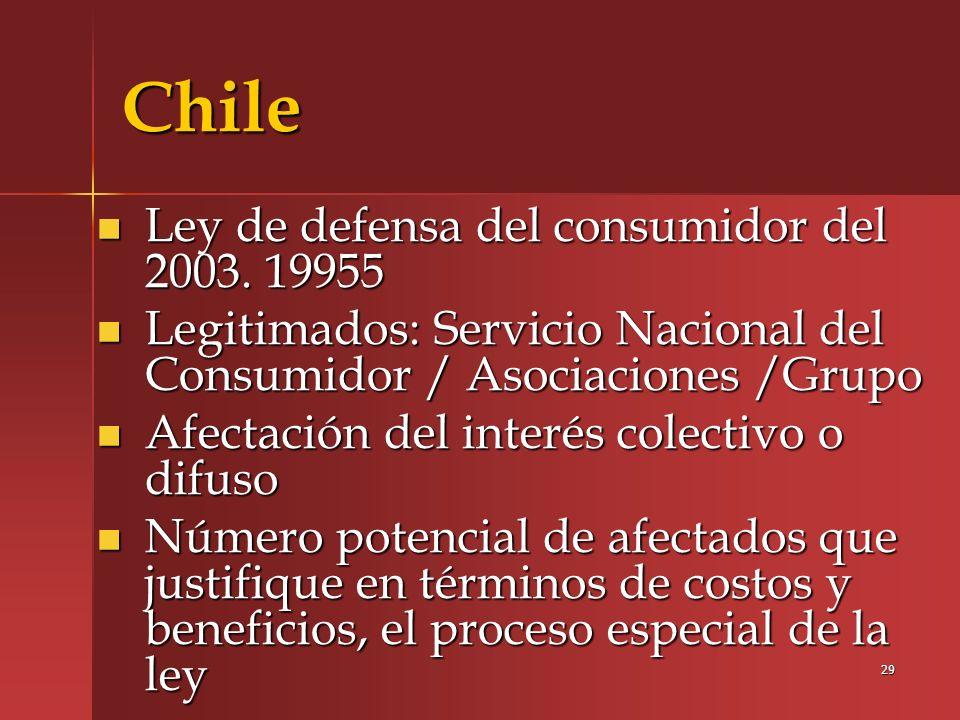 Chile Ley de defensa del consumidor del 2003. 19955