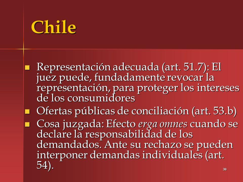 Chile Representación adecuada (art. 51.7): El juez puede, fundadamente revocar la representación, para proteger los intereses de los consumidores.