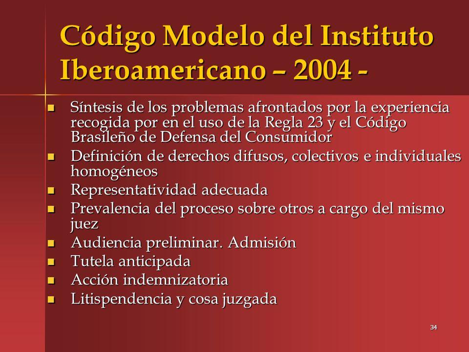 Código Modelo del Instituto Iberoamericano – 2004 -
