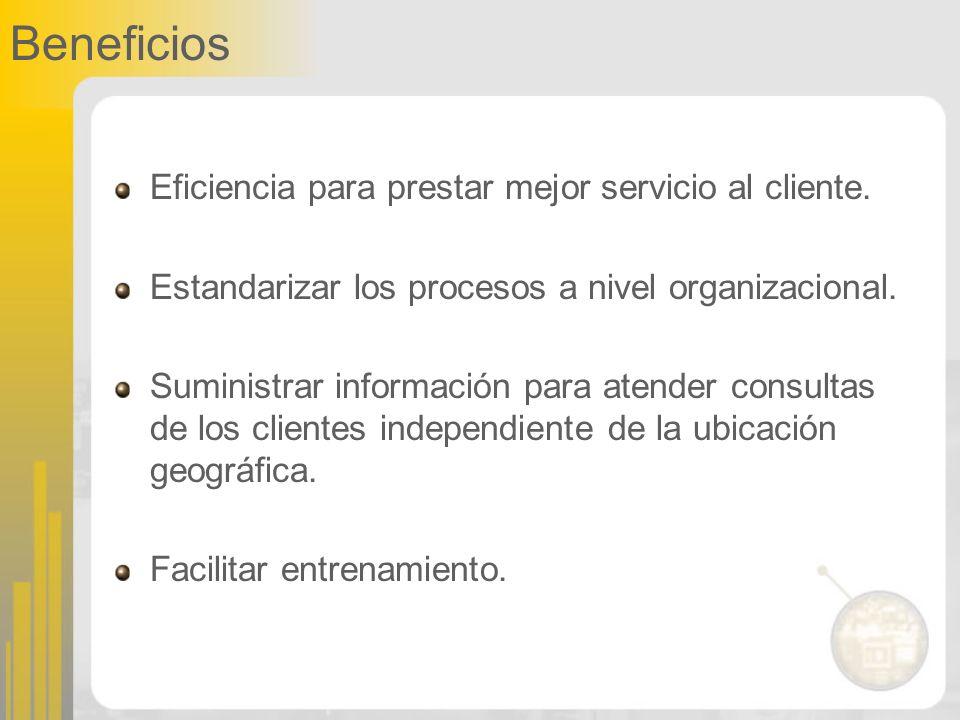 Beneficios Eficiencia para prestar mejor servicio al cliente.