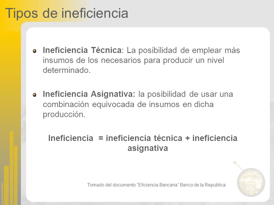 Ineficiencia = ineficiencia técnica + ineficiencia asignativa