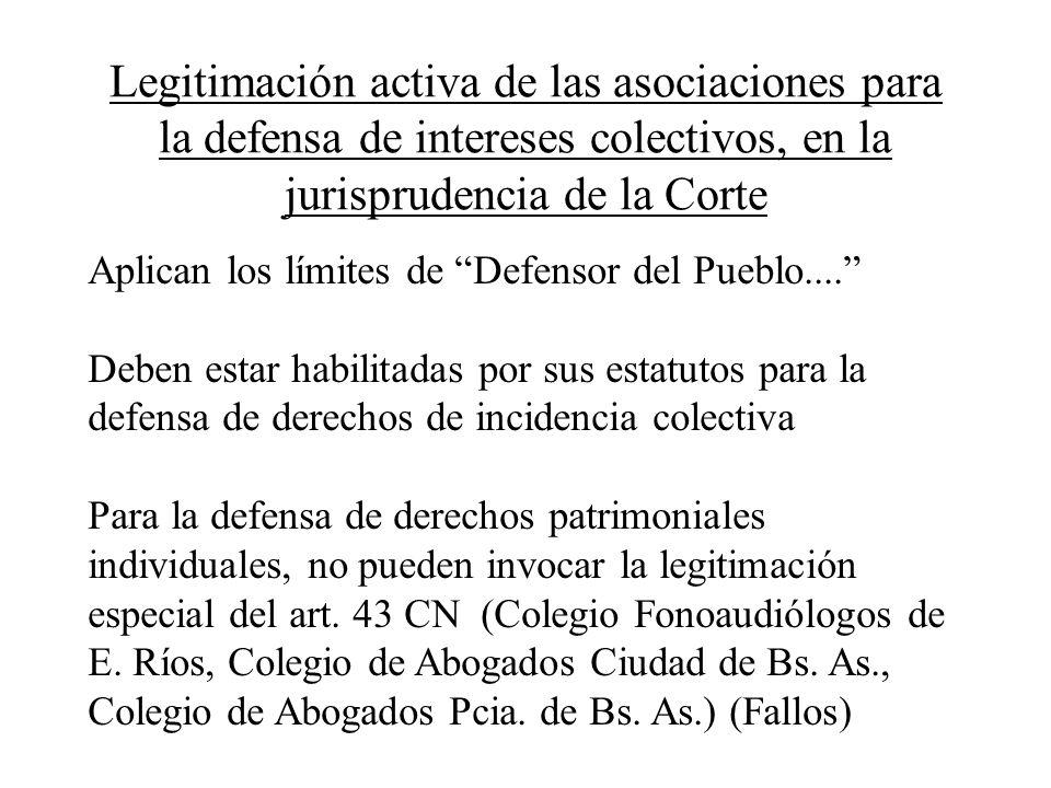 Legitimación activa de las asociaciones para la defensa de intereses colectivos, en la jurisprudencia de la Corte