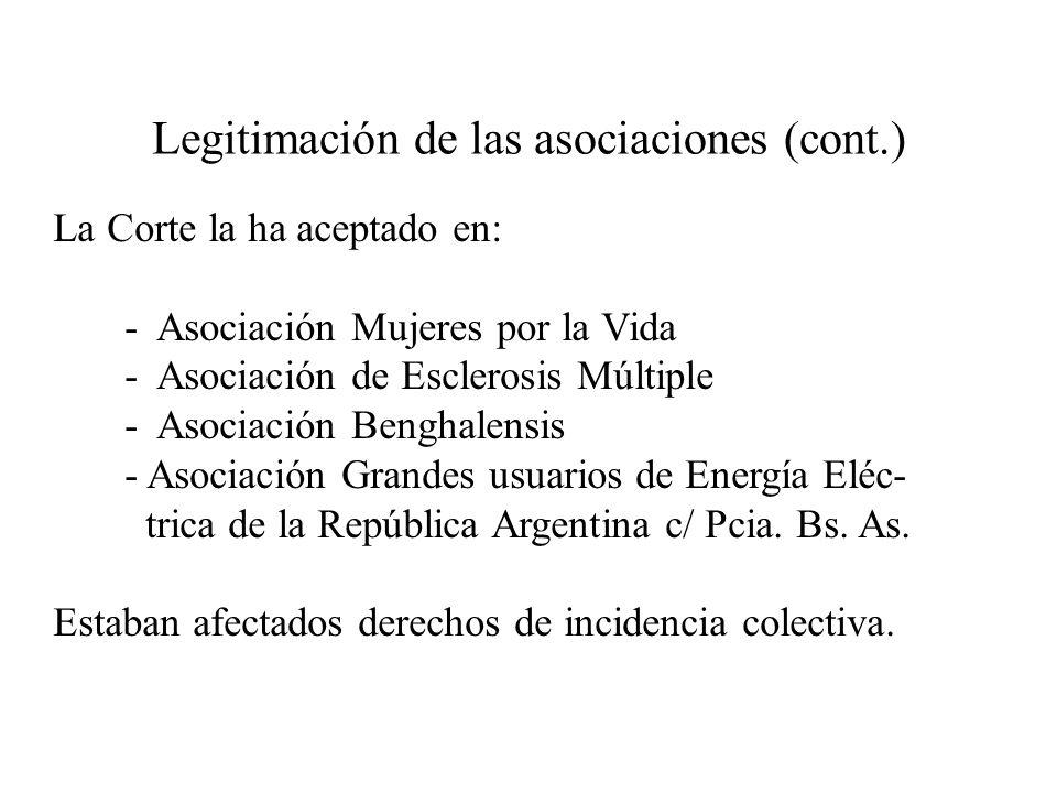 Legitimación de las asociaciones (cont.)