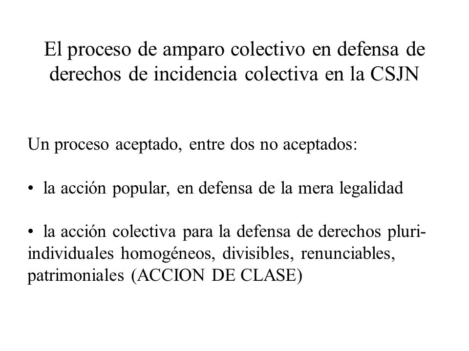 El proceso de amparo colectivo en defensa de derechos de incidencia colectiva en la CSJN