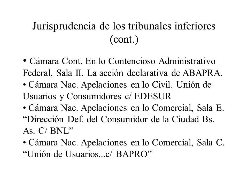 Jurisprudencia de los tribunales inferiores (cont.)
