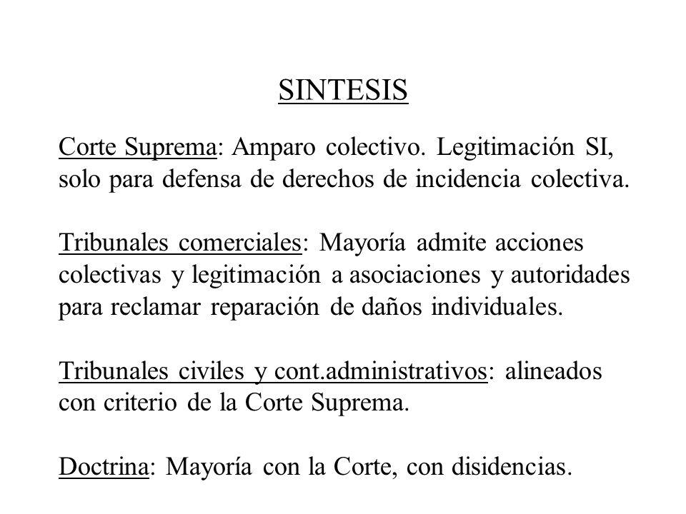 SINTESIS Corte Suprema: Amparo colectivo. Legitimación SI, solo para defensa de derechos de incidencia colectiva.