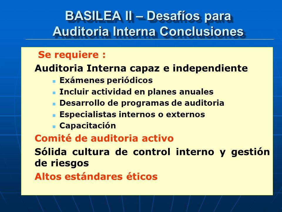 BASILEA II – Desafíos para Auditoria Interna Conclusiones