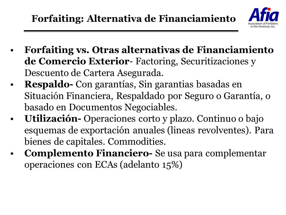 Forfaiting: Alternativa de Financiamiento