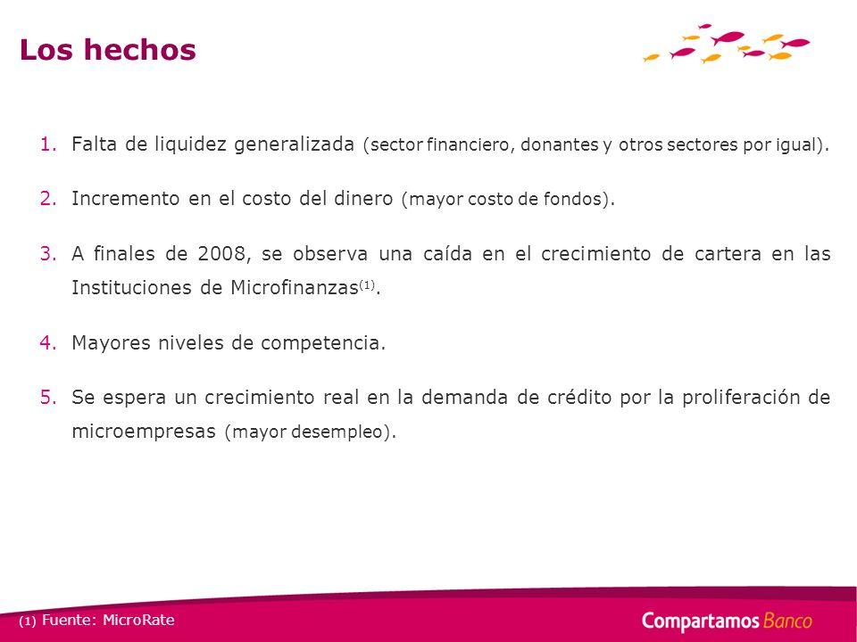 Los hechos Falta de liquidez generalizada (sector financiero, donantes y otros sectores por igual).