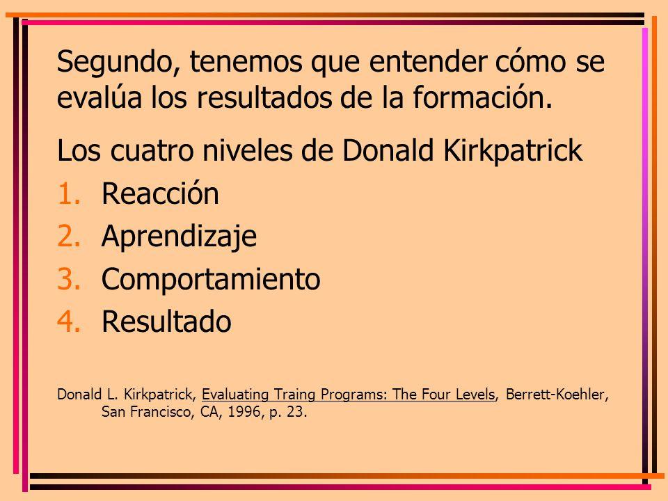 Los cuatro niveles de Donald Kirkpatrick Reacción Aprendizaje