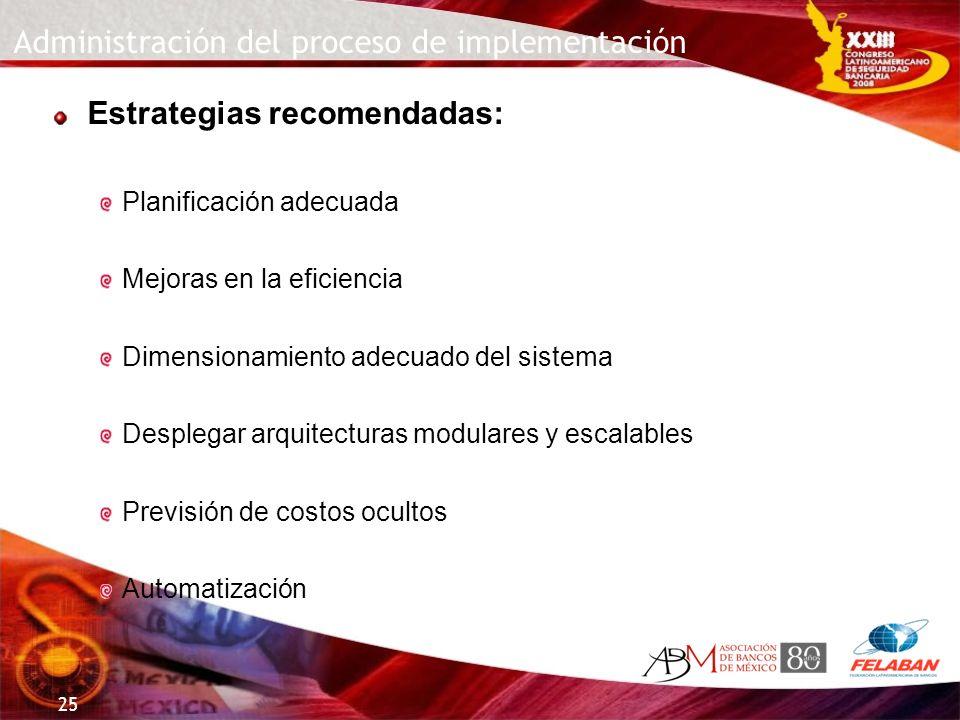 Administración del proceso de implementación