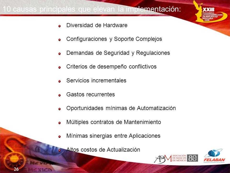 10 causas principales que elevan la implementación: