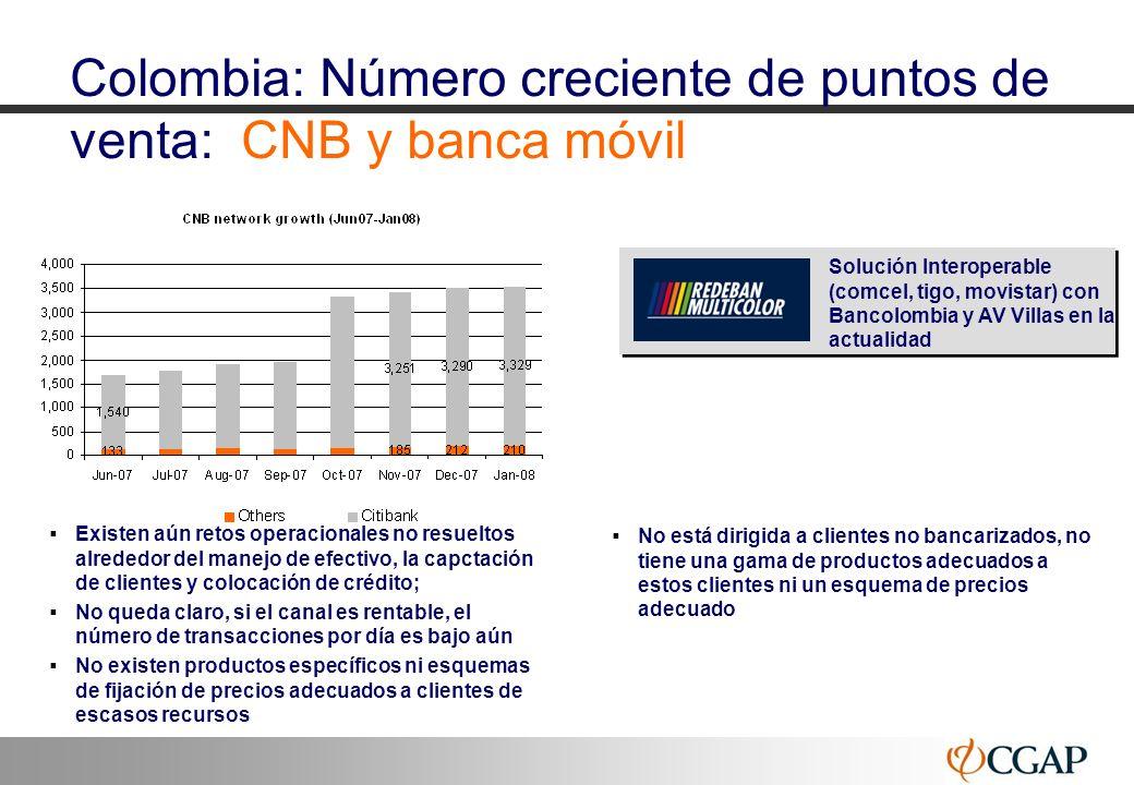 Colombia: Número creciente de puntos de venta: CNB y banca móvil