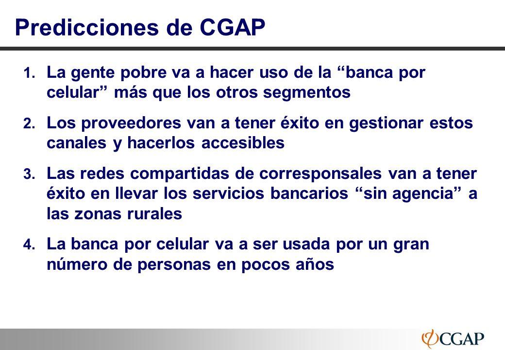 Predicciones de CGAPLa gente pobre va a hacer uso de la banca por celular más que los otros segmentos.