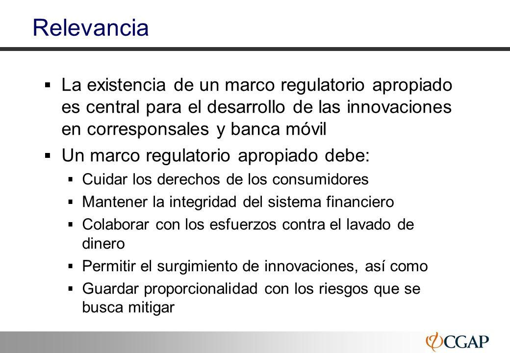 Relevancia La existencia de un marco regulatorio apropiado es central para el desarrollo de las innovaciones en corresponsales y banca móvil.
