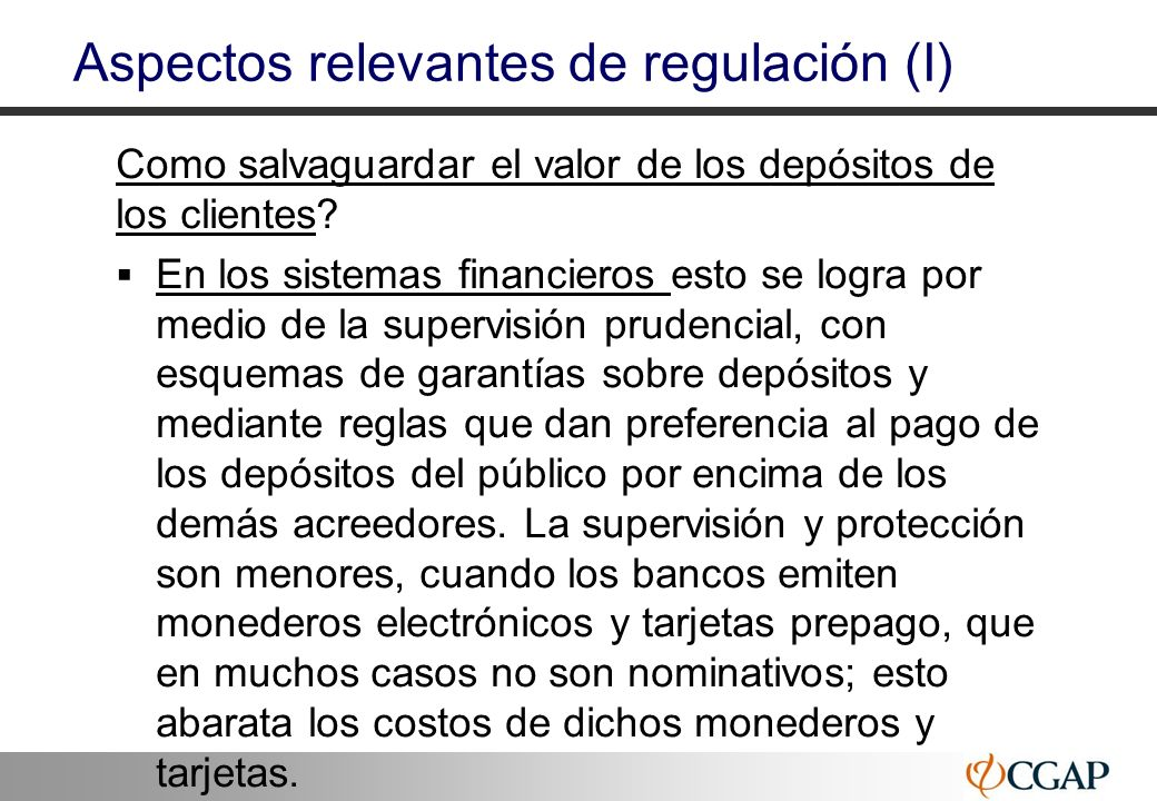 Aspectos relevantes de regulación (I)