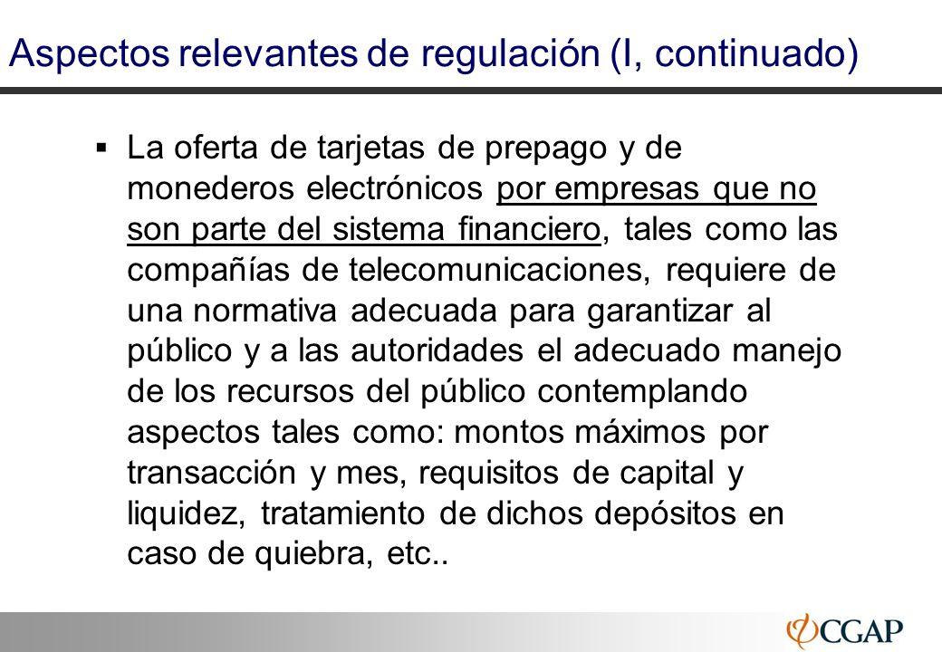 Aspectos relevantes de regulación (I, continuado)