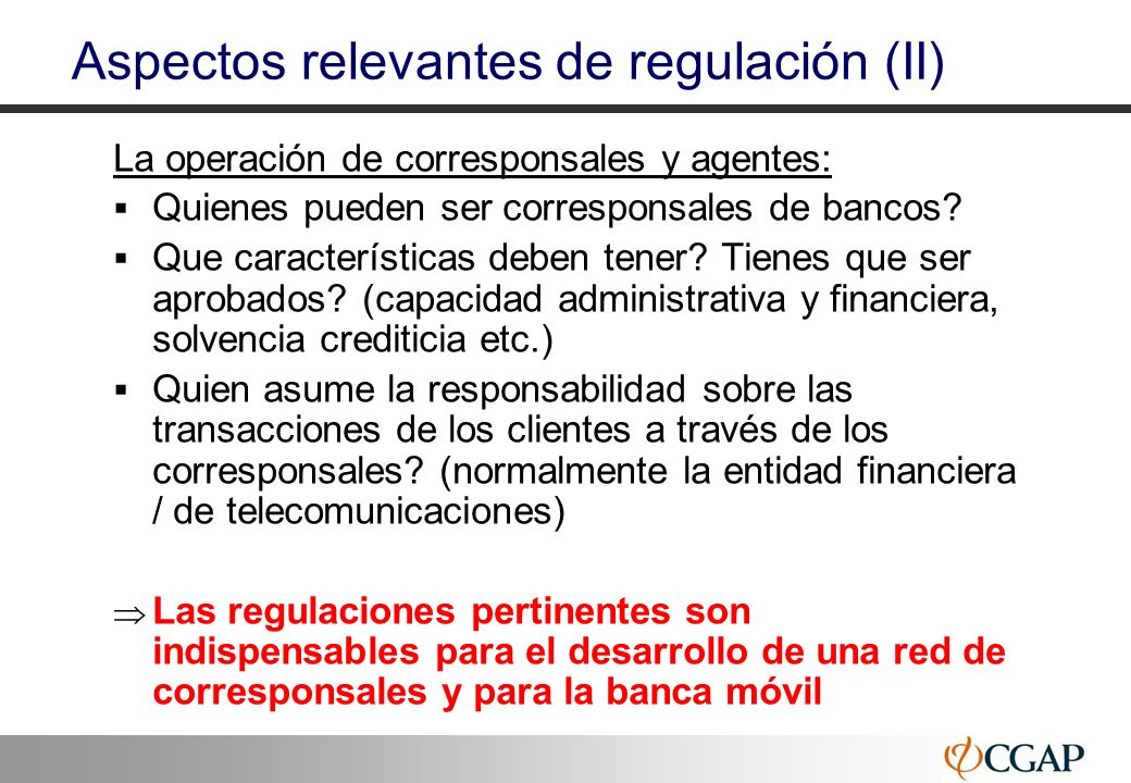 Aspectos relevantes de regulación (II)