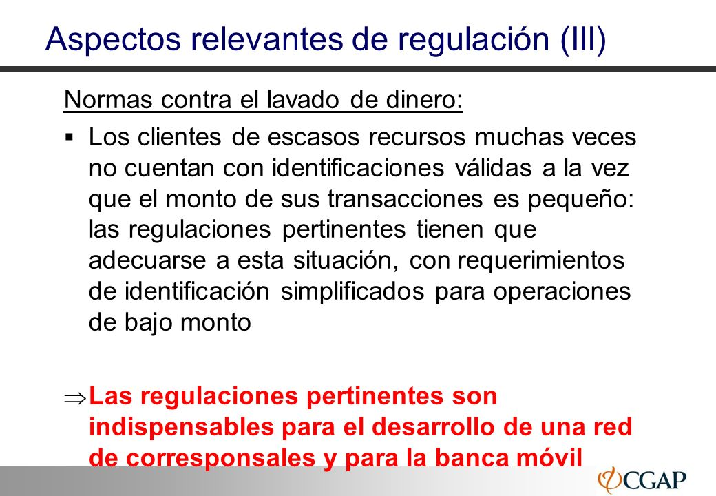 Aspectos relevantes de regulación (III)
