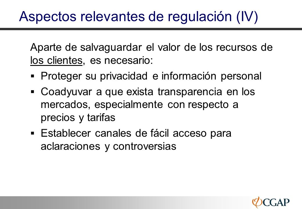 Aspectos relevantes de regulación (IV)
