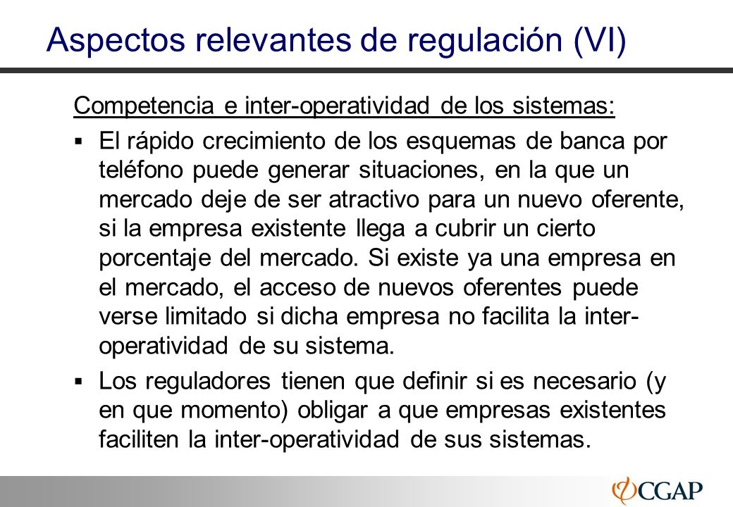 Aspectos relevantes de regulación (VI)