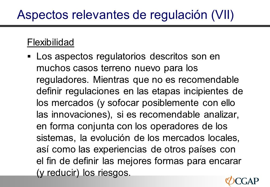 Aspectos relevantes de regulación (VII)