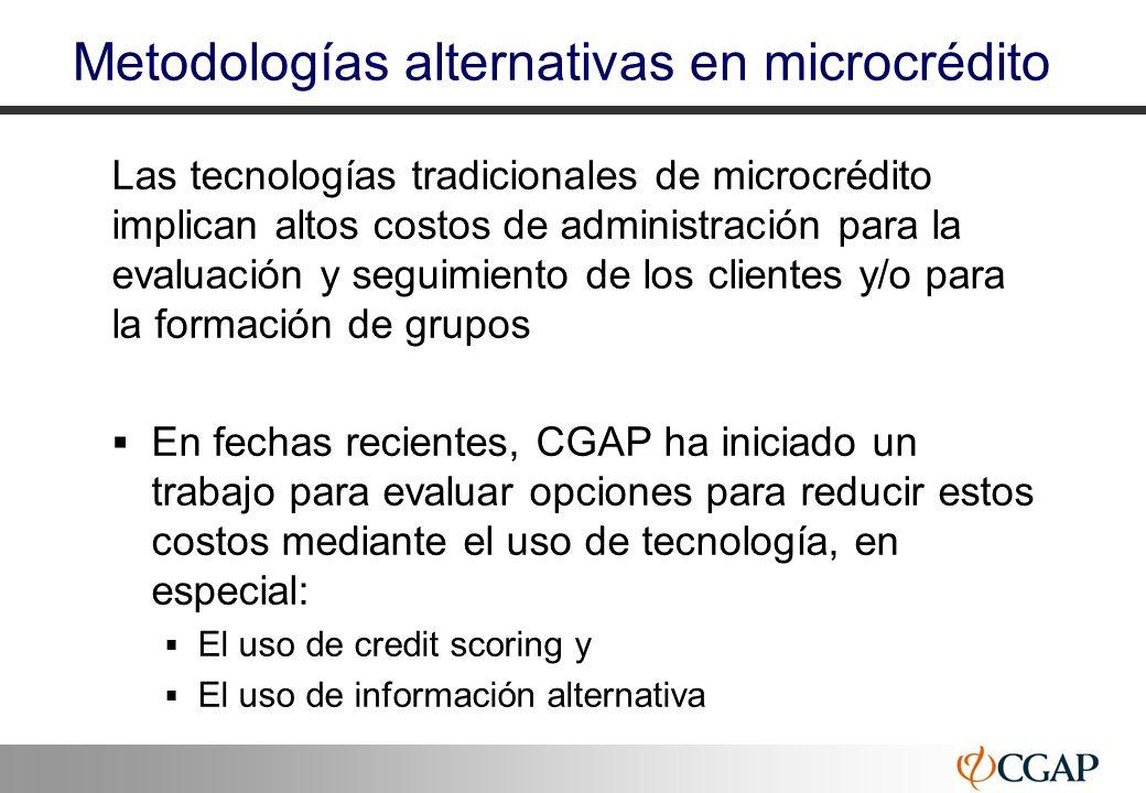 Metodologías alternativas en microcrédito