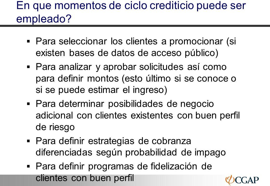 En que momentos de ciclo crediticio puede ser empleado