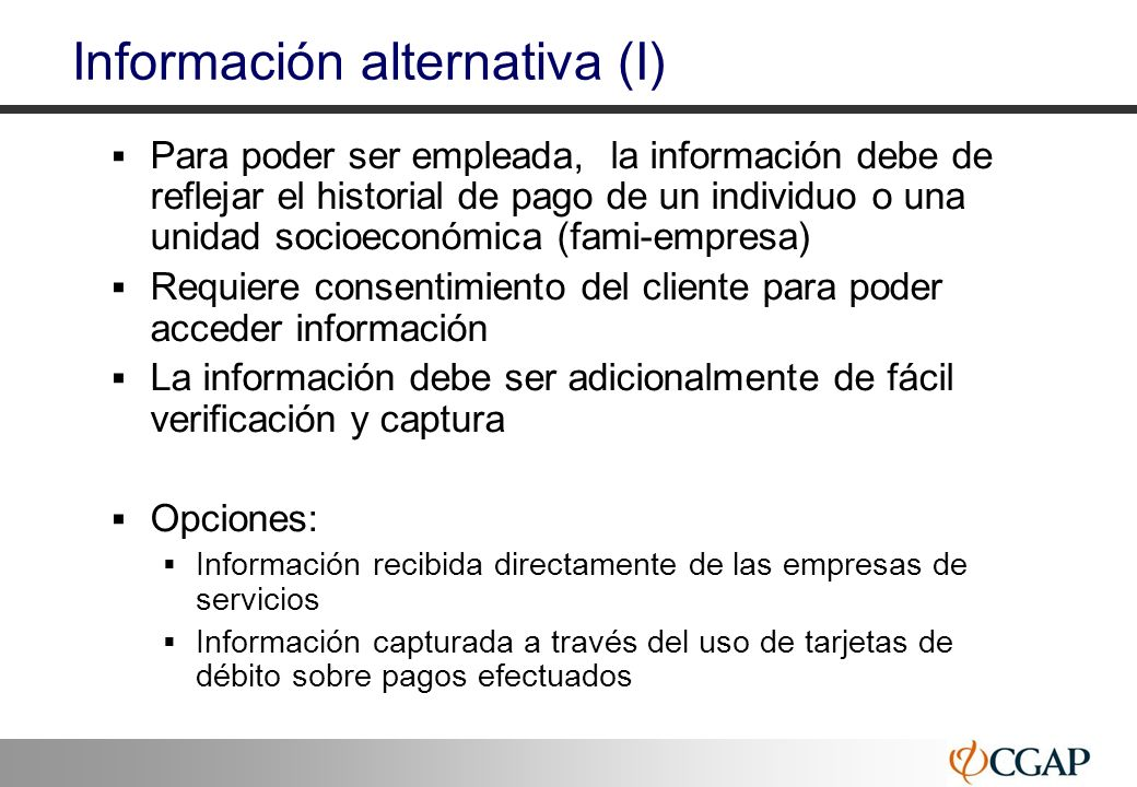 Información alternativa (I)