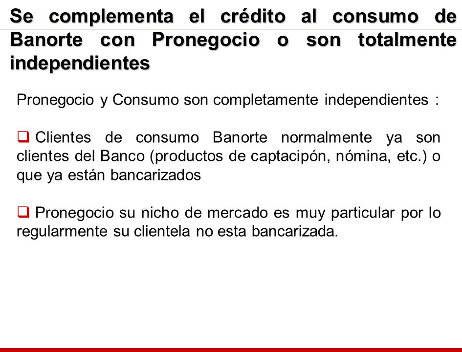 Se complementa el crédito al consumo de Banorte con Pronegocio o son totalmente independientes