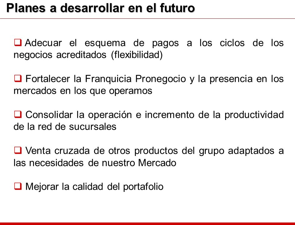 Planes a desarrollar en el futuro