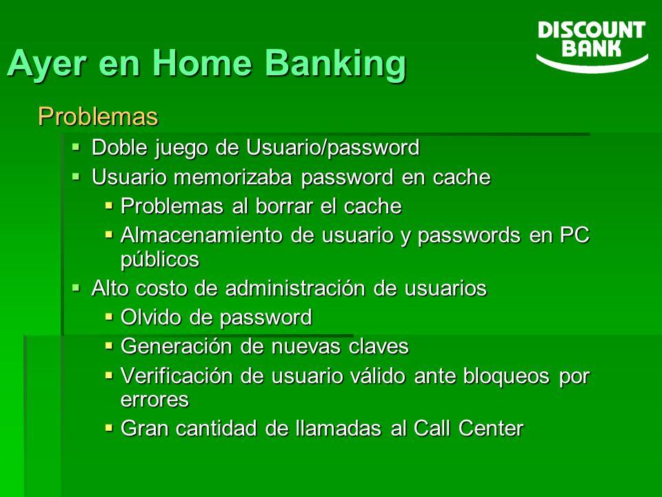 Ayer en Home Banking Problemas Doble juego de Usuario/password