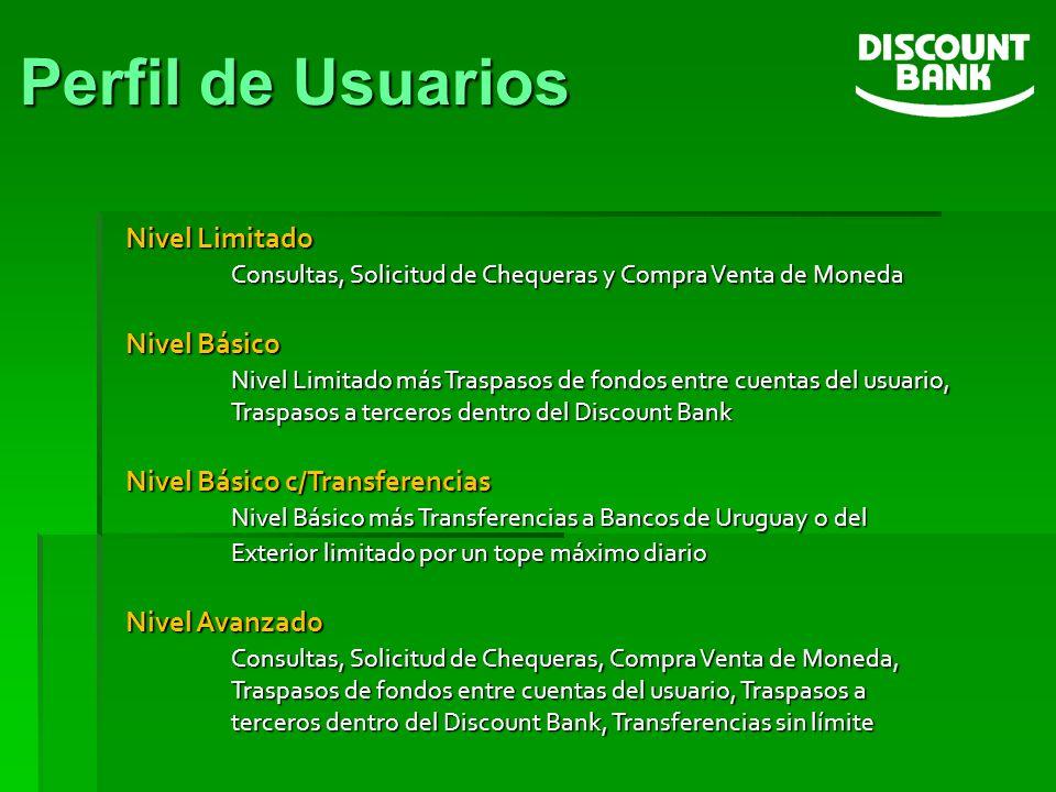 Perfil de Usuarios Nivel Limitado Consultas, Solicitud de Chequeras y Compra Venta de Moneda.