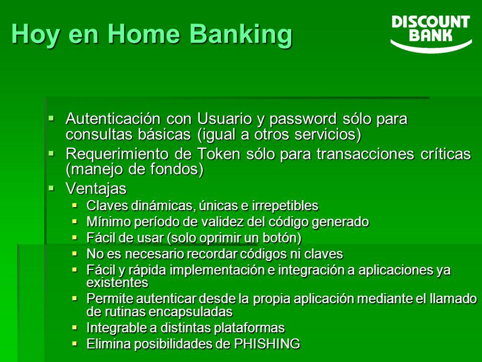 Hoy en Home Banking Autenticación con Usuario y password sólo para consultas básicas (igual a otros servicios)