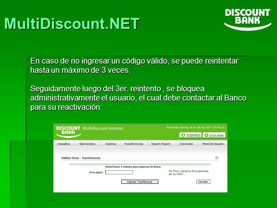 MultiDiscount.NET En caso de no ingresar un código válido, se puede reintentar hasta un máximo de 3 veces.