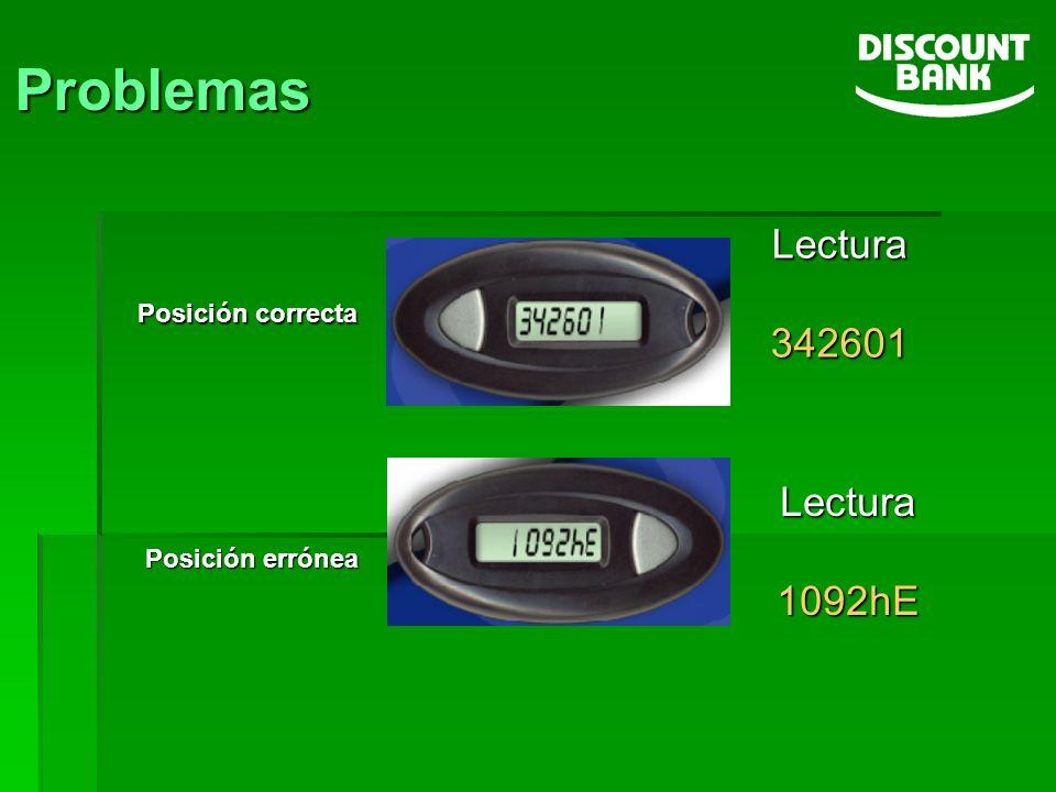Problemas Lectura 342601 Lectura 1092hE Posición correcta
