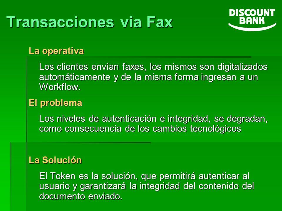 Transacciones via Fax La operativa