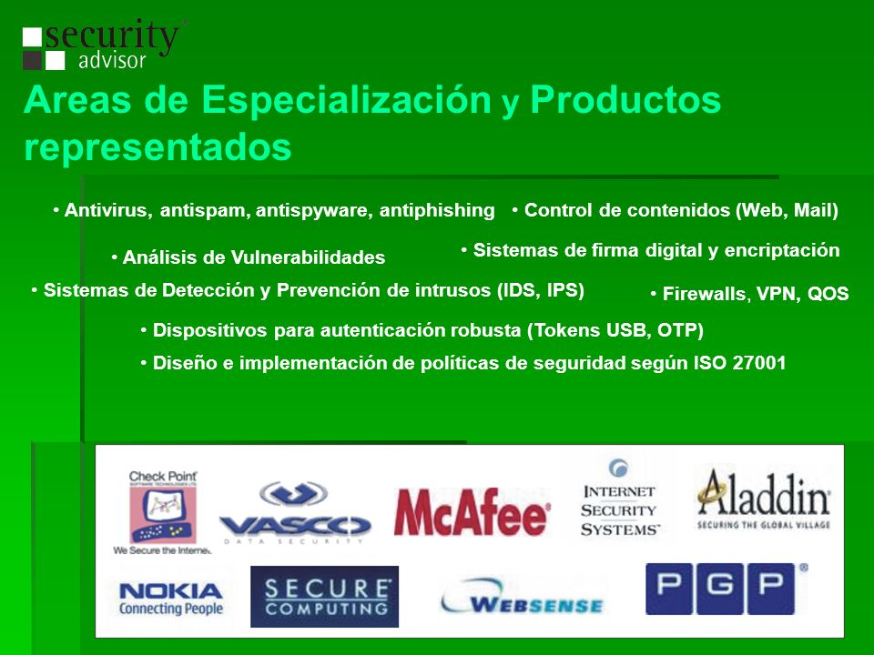 Areas de Especialización y Productos representados