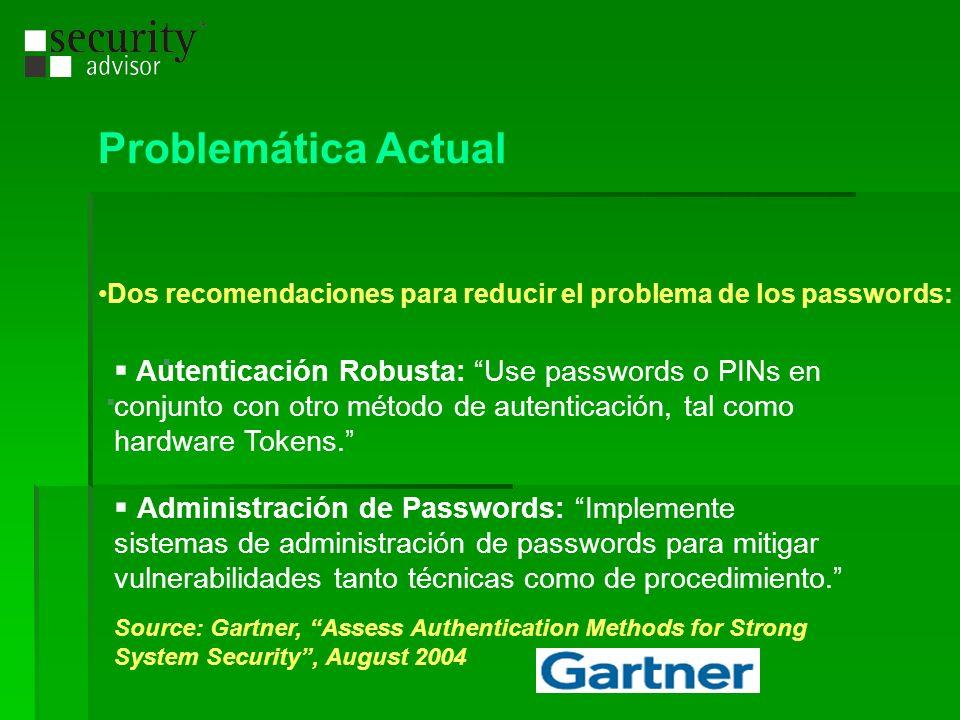Problemática Actual Dos recomendaciones para reducir el problema de los passwords: