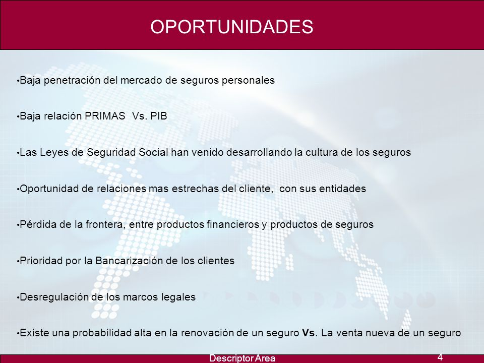 OPORTUNIDADES Baja penetración del mercado de seguros personales