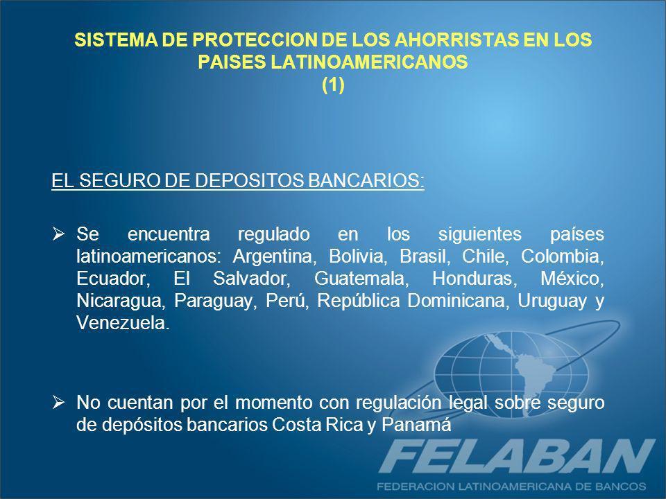 SISTEMA DE PROTECCION DE LOS AHORRISTAS EN LOS PAISES LATINOAMERICANOS (1)