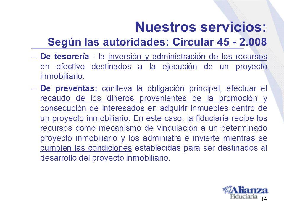 Nuestros servicios: Según las autoridades: Circular 45 - 2.008