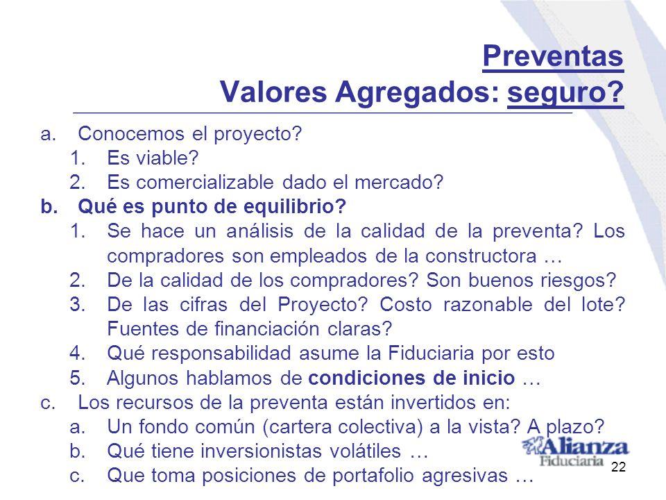 Preventas Valores Agregados: seguro