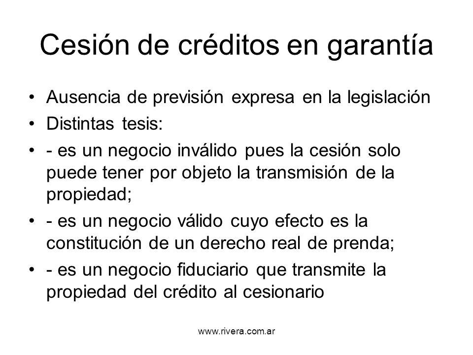Cesión de créditos en garantía