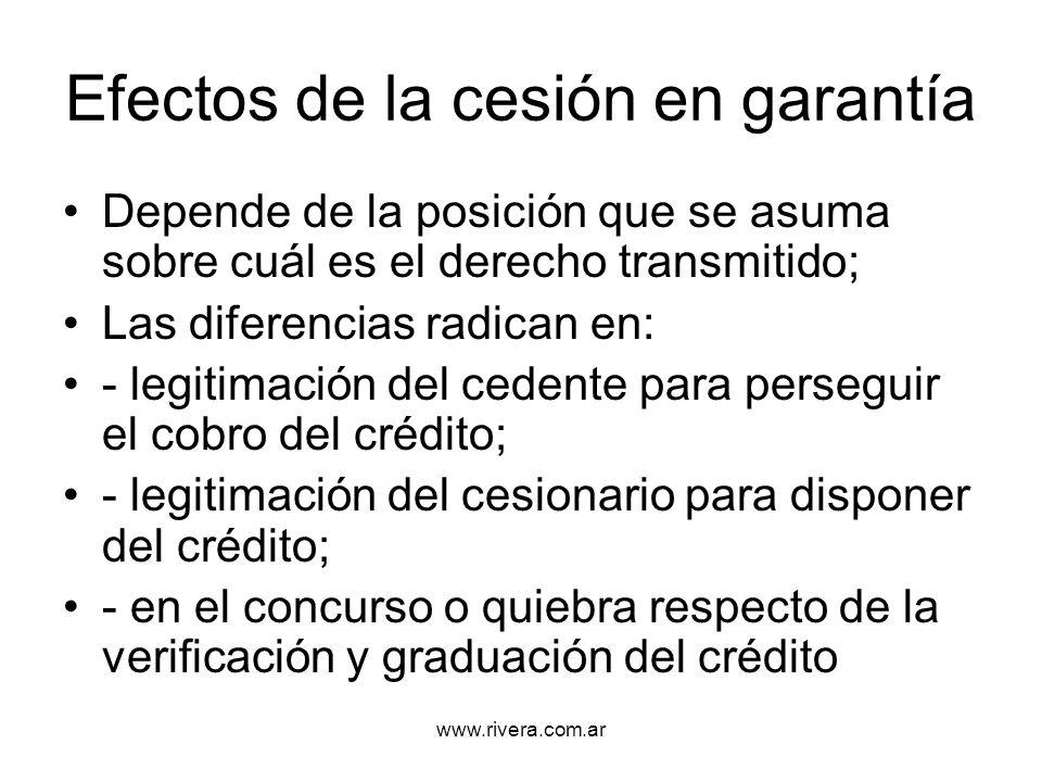 Efectos de la cesión en garantía