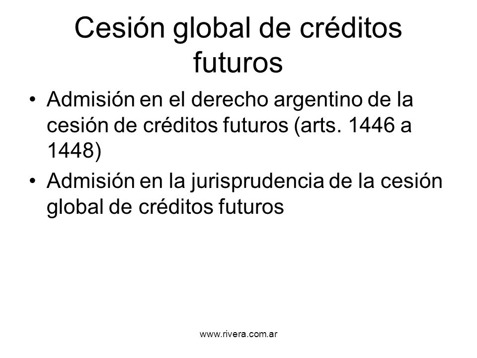 Cesión global de créditos futuros