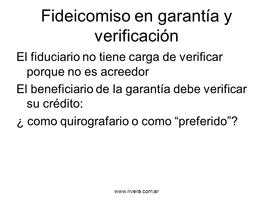 Fideicomiso en garantía y verificación