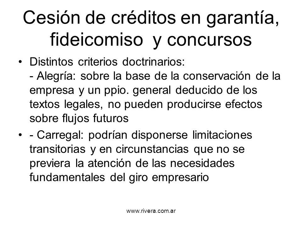 Cesión de créditos en garantía, fideicomiso y concursos